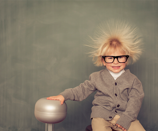 Child with Van de Graaff Generator